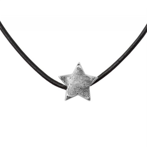 Star Fingerprint Bead Leather Necklace